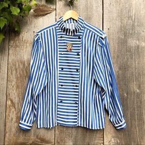 VTG blue white stripe double breasted shirt